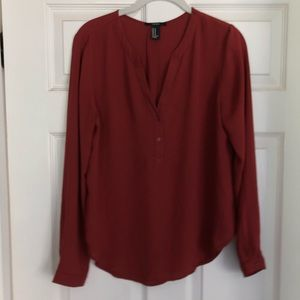 Quarter button blouse